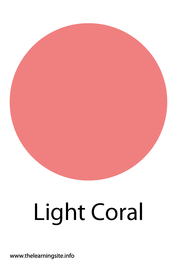 Light Coral Color Flashcard Illustration