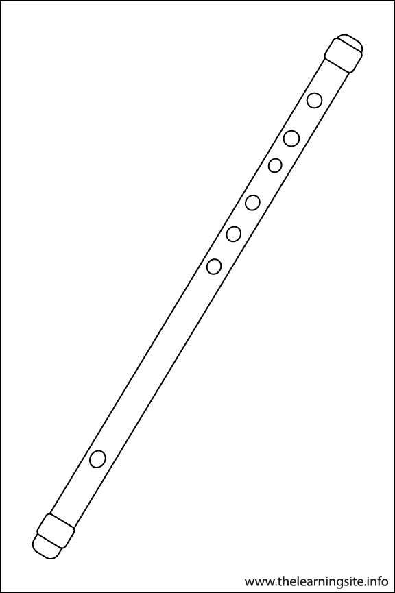 Flute Musical Instruments Coloring Page Outline Flashcard Illustration