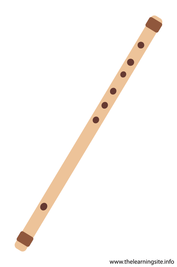 Flute Musical Instruments Flashcard Illustration